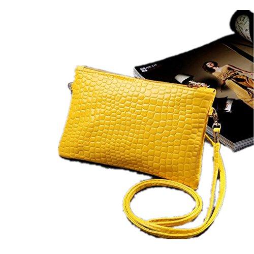 Purse Pebbled Nodykka Cross Yellow Handbags Shoulder Women Body Clutches Leather PU Bags T71fxwqv