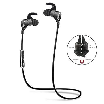 Auriculares bluetooth, CHEREEKI Magnéticos bluetooth 4.1 inalámbricos Estereo auriculares finos deportivos con micrófono incorporado,
