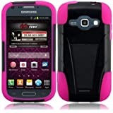 Generic Hybrid Double Layer Fusion Cover Case with Kickstand for Samsung Galaxy Ring M840 - Retail Packaging - Black/Hot Pink
