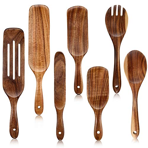 7 Pieces Wood Cooking Utensils Set Wooden Kitchen Spoons Set for Cooking, Wooden Spatula Slotted Turner Teak Spatula…