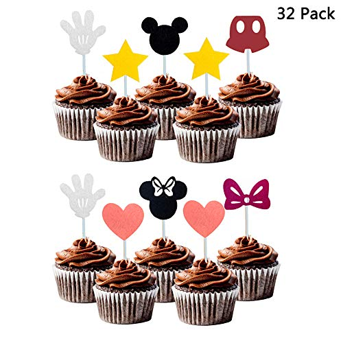 Finduat 32 Pack Cute Mickey Minnie Mouse Inspired Cupcake Toppers Kids Birthday Party Supplies Decorations and Cupcake -