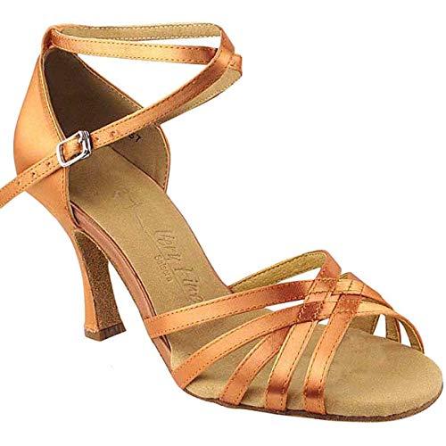 Women's Ballroom Dance Shoes Tango Wedding Salsa Dance Shoes Tan Satin Sera2613EB Comfortable - Very Fine 3