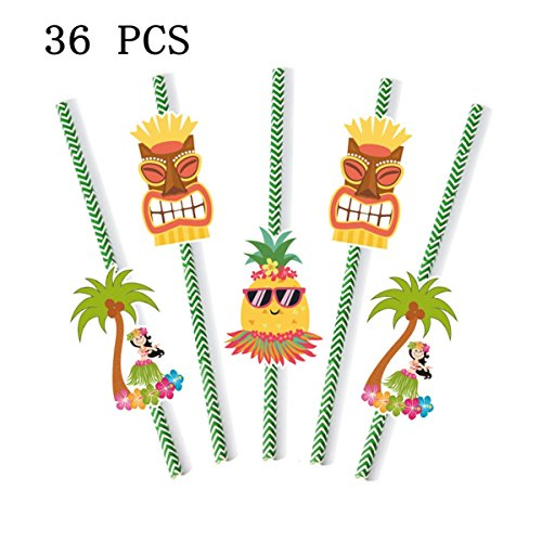 Luau Tropical Drinking Straws for Hawaiian Summer Beach Pool Party Decorations- Set of (Hawaiian Theme Party Food)