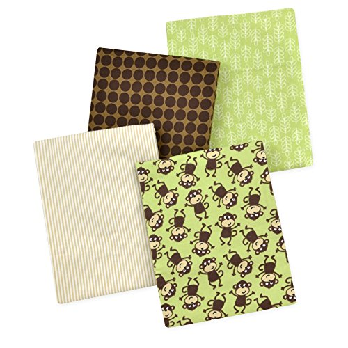 Brown Monkey (Carter's 4 Piece Flannel Receiving Blankets, Monkeys/Brown/Green/White)