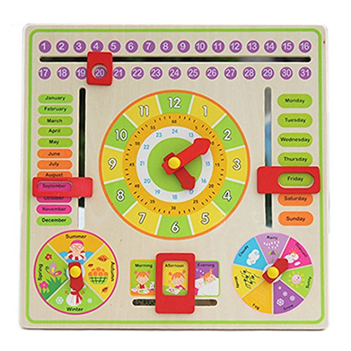 Monique Wooden Clock Board Toy Alarm Calendar Board Show Numbers Time Days Month Week Season Weather by Monique