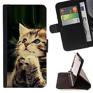 - PAW FURRY PRAYING BABY KITTEN CUTE - - Prima caja de la PU billetera de cuero con ranuras para tarjetas, efectivo desmontable correa para l Funny HouseFOR Sony Xperia Z1 L39