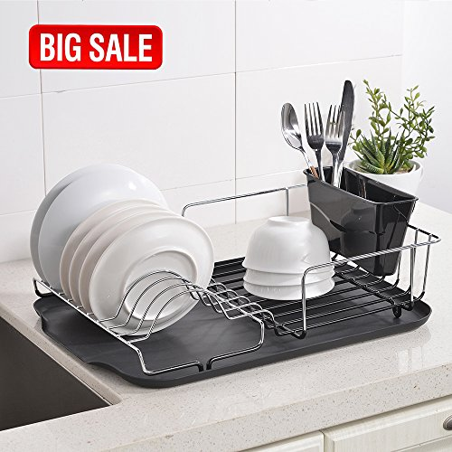 SOTTAE Modern Black DrainBoard And Dish Rack, Steel Rust Pro