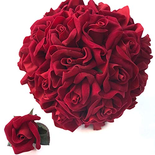 Red Velvet Silk Rose Bouquet (24 Roses) - Silk Bridal Wedding Bouquet and Matching Boutonniere - Valentines Day Christmas Wedding Flower Package