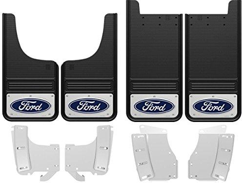 (Gatorback 2017-2018 Ford F250/F350 Super Duty Blue Logo Front & Rear Mud Flaps Set - Includes No-Drill Brackets)