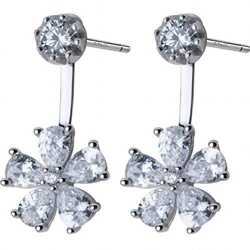 K-earings S925 Silver Cherry Earrings Female Fresh Rhinestone Five-Petal Flower Hanging Flower Ear Jewelry, 925 Silver ()
