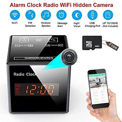 Hidden Camera Clock WiFi - Spy Cameras Alarm Clock Radio - Nanny Cams Wireless with Cell Phone App - HD 960 FM Bluetooth Speaker USB Charging Night Vision & Motion Detection by Hengxida Tech.