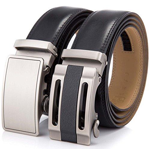 Men's Full Grain Cowhide Leather Belts set, 1 belt+2X Solid Automatic Ratchet Buckles set (L (up to 38