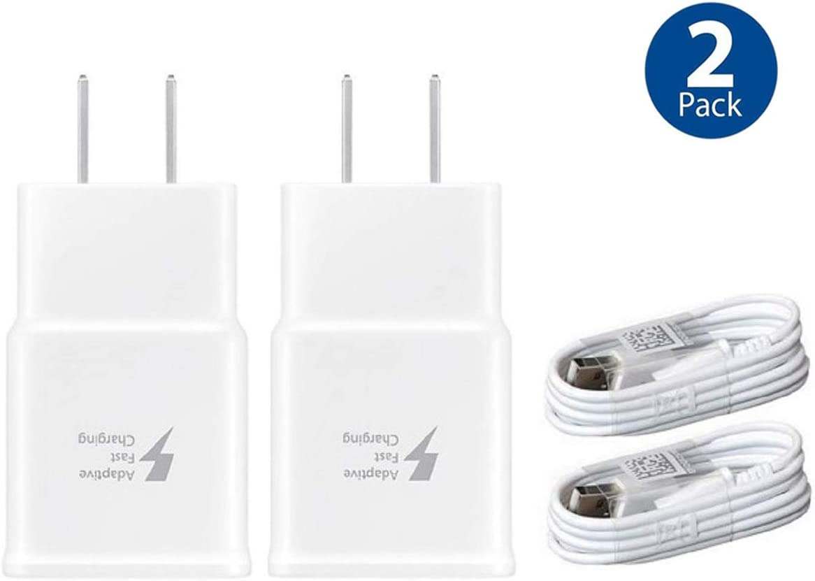 Wall Charger Adaptive Fast Charger Kit for Samsung Galaxy S7/S7 E/S6/S6 E/Note5/4 /S4/S3, USB 2.0 Fast Charge Kit True Digital Adaptive Fast Charging (Wall Charge + Micro USB Cable 4 ft)
