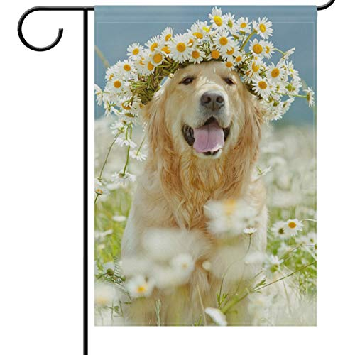 (Wamika Welcome Paws Dog House Flag 28 x 40 Double Sided, Funny Puppy Pet Golden Retriever Dog Smiling Daisy Flowers Garden Yard Outdoor House Flag Banner for Party Home Decorations)