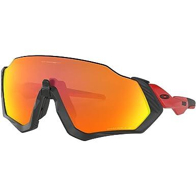 52ca6194456 Oakley Men s Flight Jacket Polarized Iridium Rectangular Sunglasses BLACK  ...