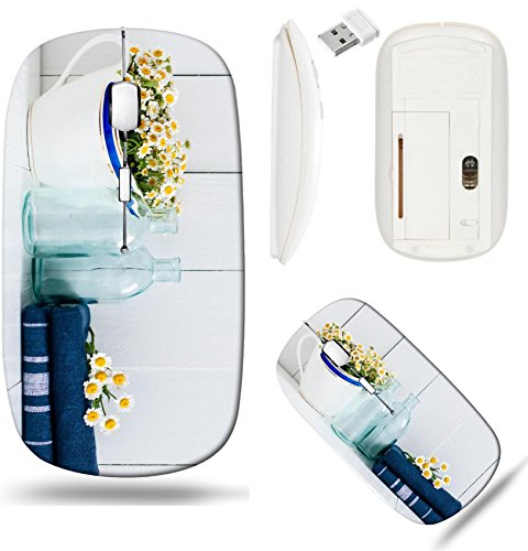 (Liili Wireless Mouse White Base Travel 2.4G Wireless Mice with USB Receiver, Click with 1000 DPI for notebook, pc, laptop, computer, mac book Chamomile flowers in vintage ceramic gravy boat glass bott)