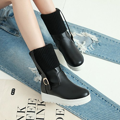 Show Lining Snow Shine Velvet Boots Womens Black Heel Buckles Thick wxwrt