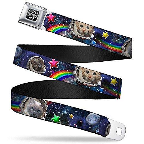 Buckle-Down Seatbelt Belt - Astronaut Cats in Space/Rainbows/Stars - 1.5