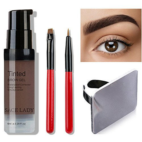 SACE LADY Semi Permanent Eyebrow Gel Makeup Kit, Waterproof Tint Brow Enhancer Color Gel with Eyebrow Sculpting Brushes, Makeup Mixing Blending Palette Tool (2.Dark Brown) by SACE LADY