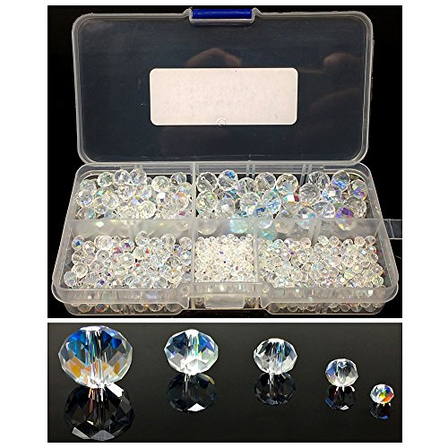 Chengmu 2-10mm Crytal White Briolette Glass Beads for Jewelry Making AB Colour 720pcs Faceted Rondelle Shape Spacer Beads Assortments Supplies for Bracelets Necklaces with Elastic Cord Storage Box