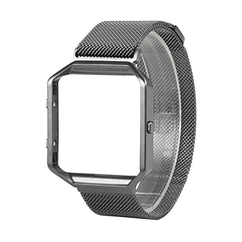 For Fitbit Blaze Band, Wearlizer Milanese Loop Watch Band Replacement Stainless Steel Bracelet Strap With Metal Frame for Fitbit Blaze - Space Grey Small
