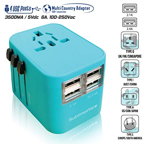 Power Plug Adapter (Turquoise) - International Travel - w/4 USB Ports Work for 150+ Countries - 220 Volt Adapter - Travel Adapter Type C Type A Type G Type I ()