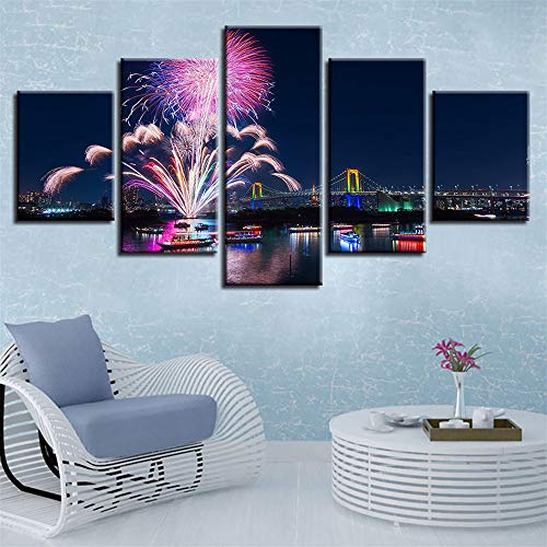 (Whian 5Pcs/Set Modern Painting Canvas Wall Canvas Art Prints Posters Decor Bedroom Home Decorations Fireworks 55/45/35x20CM)