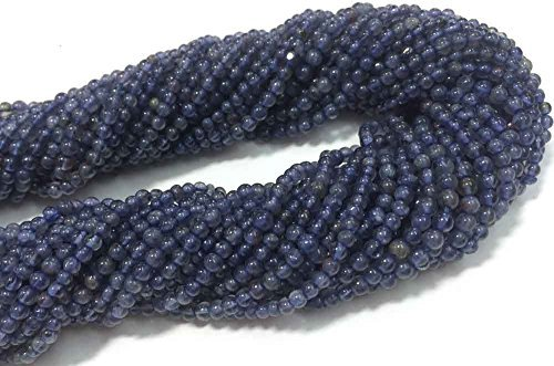 AAA QUALITY IOLITE SMOOTH ROUND LOOSE GEMSTONE BEADS 13