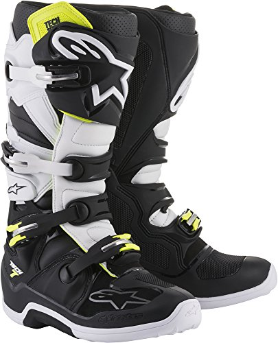 Alpinestars Tech 7 Motocross Off-Road Motorcycle Boots, Black/White, Men's Size 7