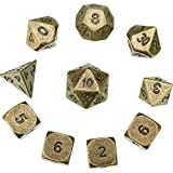 Hestya 10 Pieces Metal Dices Set DND Game Polyhedral Solid D&D Dice Set with Storage Bag and Zinc Alloy with Printed Numbers for Role Playing Game Dungeons and Dragons, Math Teaching (Bronze)