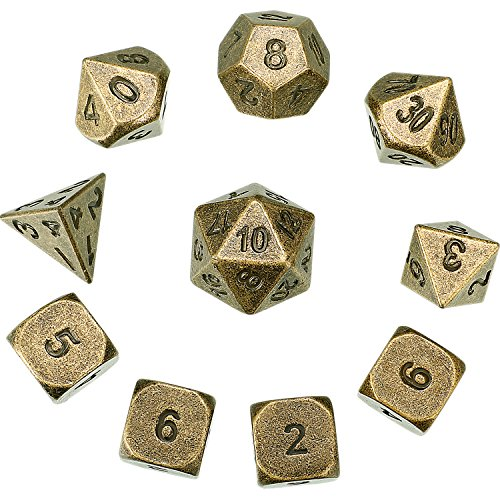 Hestya 10 Pieces Metal Dices Set DND Game Polyhedral Solid D&D Dice Set with Storage Bag and Zinc Alloy with Printed Numbers for Role Playing Game Dungeons and Dragons, Math Teaching (Bronze) by Hestya