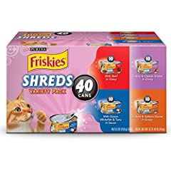 Answer your cat's flavor cravings with this Purina Friskies Savory Shreds adult wet cat food variety pack. Each pack contains four equally tempting entrees, including Purina Friskies Savory Shreds Chicken & Salmon Dinner in Gravy, Turkey ...