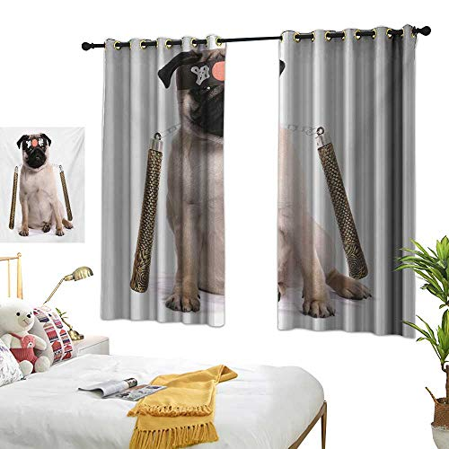 LsWOW Bedroom Curtains W63 x L72 Pug,Ninja Puppy with Nunchuk Karate Dog Eastern Warrior Inspired Costume Pug Image,Cream Black Gold Curtains 2 Panel Set for -