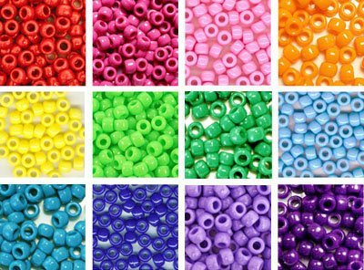 Rainbow Pony Beads Kit, 6x9mm, 12 Bags Variety Pack, 12 Colors - 300 grams (about 1200 beads), Gift Set KT62016