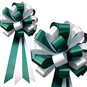 """White and Hunter Green Pull Bows - 8"""" Wide, Set of 6, Wedding Pew Ribbons, Christmas Decorations"""