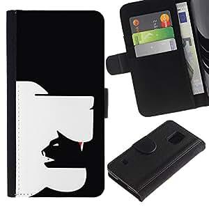 Graphic Case / Wallet Funda Cuero - Cat Dog Art In Yang Black - Samsung Galaxy S5 V SM-G900