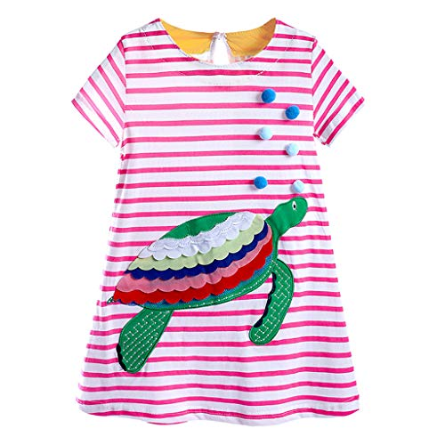 - 0-7T Toddler Infant Baby Girls Stripe Dresses Cute Animal Embroidery Short Sleeve Casual Dress Kid Child Comfy Beach Dresses (Pink, 5-6 Years)