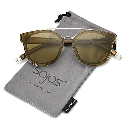 SOJOS Fashion Square Oversized Sunglasses for Women Mirrored Lens SJ2038 with Gold Rim/Olive ()