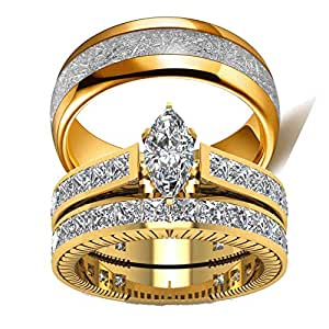 amazon com wedding ring set two rings his hers couples