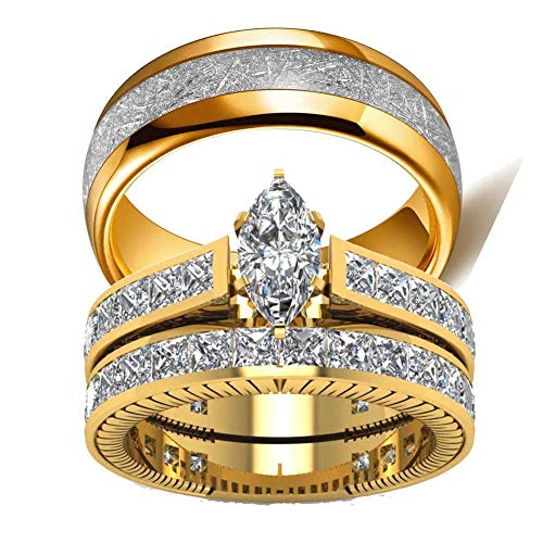 (wedding ring set Two Rings His Hers Couples Rings Women's 10k Yellow Gold Filled White CZ Wedding Engagement Ring Bridal Sets & Men's Titanium Wedding)