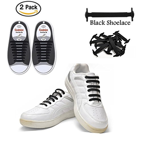 LattoGe 2 Pack No Tie Silicone Shoelaces Lace Lock Bands for Kids, Adults Athletic Running Shoe Laces,Seakers (Adults Size Black(2pairs)) (Shoes Athletic 2 Adult)