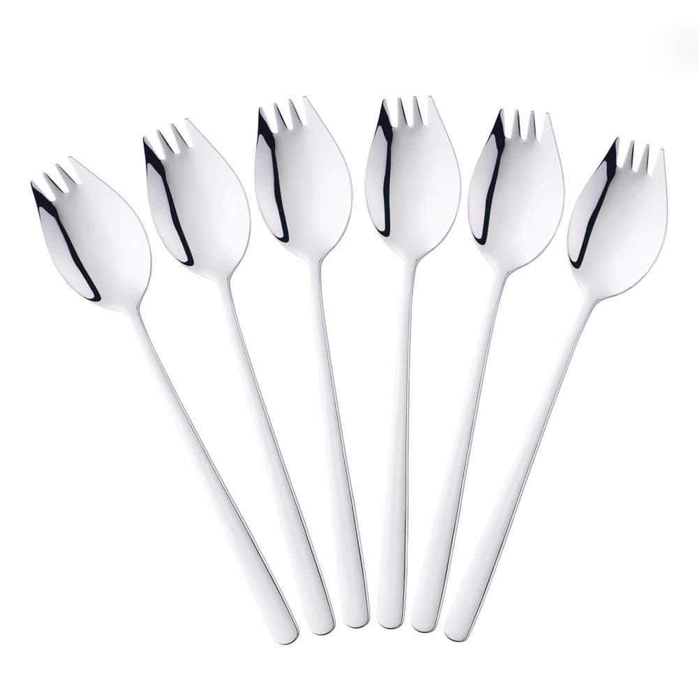 6-Piece 2 in 1 Multifunction Spork (Spoon and Fork), Bisda 304 Stainless Steel Silver Spoon and Fork Set for Noodles, Pasta, Fruit and so on, Dishwasher Safe