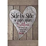 inspiring living room accent wall Sisters Wood Plaque with Inspiring Quotes 6x9 - Classy Vertical Frame Wall & Tabletop Decoration | Easel & Hanging Hook | Side by Side or Miles Apart, Sisters Will Always be Connected by Their Heart