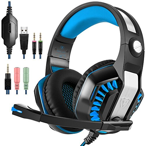 Sonlipo Gaming Headsets Stereo Bass Computer Headphones Upgrades LED Over-ear PC Headphones with Volume Control Built-in Noise Cancelling Mic for PSP PS4 Xbox Tablet Laptop PC Smartphones(Blue+Black) by Sonlipo