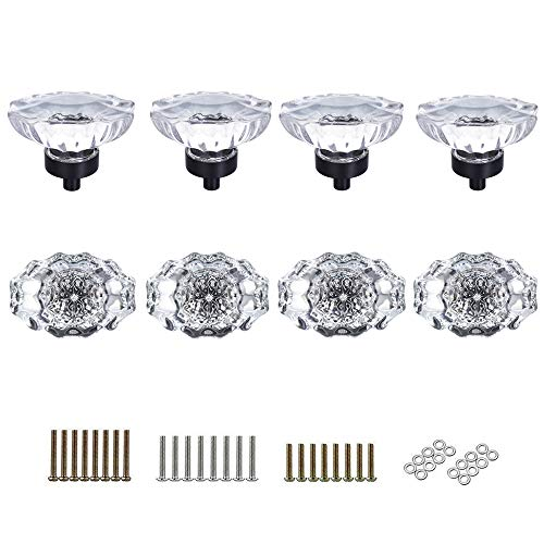 SHINY HANDLES 8 Pcs Crystal Glass Cabinet Knobs Pulls Vintage Knob Vintage Dresser Knobs Drawer Knobs,Clear,Oval Shape,3 Types Screws,Factory Supply