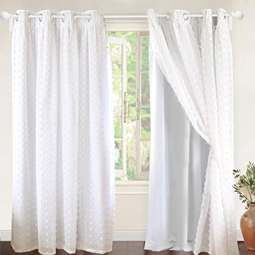 DriftAway Lily White Pinch Pleated Voile Sheer & Blackout Curtain Liner, Embroidered with Pom Pom, ONE Panel, Two Layer Grommet Curtain for Kids/Nursery Room, 52