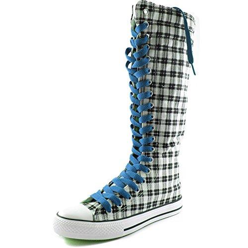 Botas Altas De Media Caña De Lona Para Mujer DailyZapatos Botas Altas De Caña Baja De Zapatillas De Deporte Casual, Azul Clásico Botas De Tela Escocesa De Wht Gris, Azul De Encaje Clásico