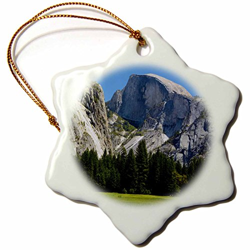 3dRose ORN_191643_1 Half Dome, Valley Floor, Meadow, Yosemite Np, California, USA Snowflake Ornament, Porcelain, 3-Inch -