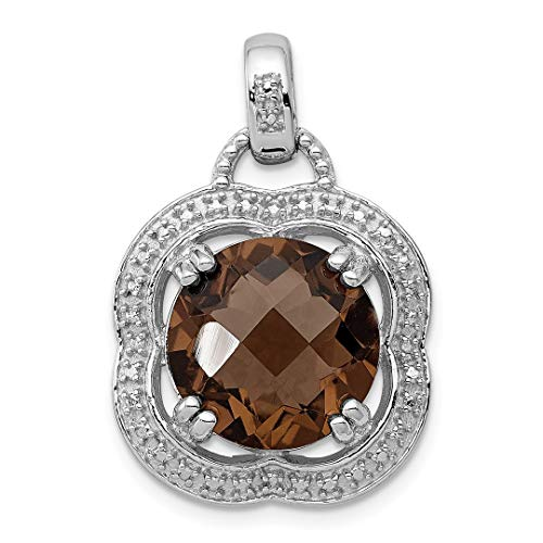 - 925 Sterling Silver Smoky Quartz Pendant Charm Necklace Gemstone Fine Jewelry For Women Gift Set