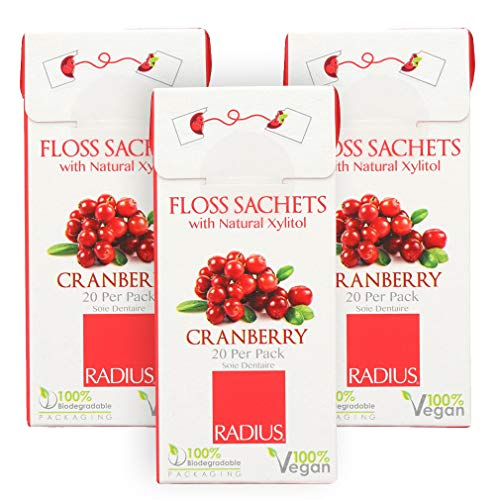 RADIUS - Natural Soft Floss, Xylitol for an Oral Care Boost, Total Tooth and Gum Protection, 100% Vegan (Cranberry, 20 Sachets) | 3-Pack
